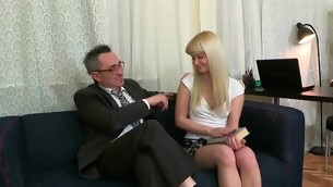 Sweet follower groupie is delighting old teacher with oral engulfing
