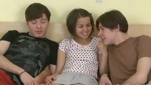 Twosome innocent teens learn about sex pile up