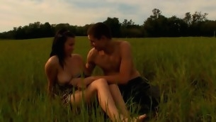Lewd sweetheart is delighting stud with oral-sex to hand the meadow