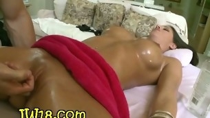 Fella massages stunning sappy body of legal age pubescent beauty with oild bringing her delight