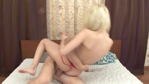 Blond teen with ink banged hard