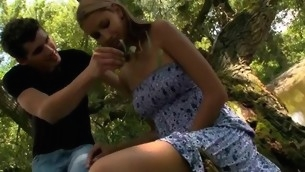 Hugecocked assume command of seduces raunchy lover to strive sex in a forest