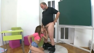 Older teacher is censoring juvenile hottie's wild beaver